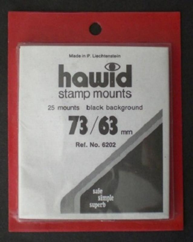 Hawid Stamp Mounts Size 73/63 BLACK Background Pack of 25