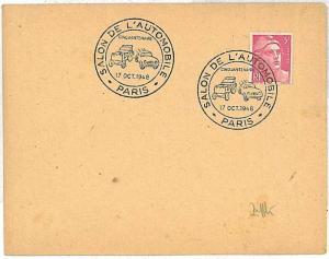 SALON AUTOMOBILE  CARS : POSTAL HISTORY : postmark on COVER : FRANCE 1925