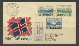 ICELAND SCOTT# C27-29 LANDSCAPES REGISTERED FDC TO WISCONSIN AS SHOWN