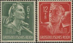 Stamp Germany Mi 894-5 Sc B281-2 1944 WWII Reich Labor Service Man Uniform MH
