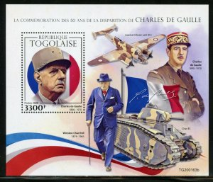 TOGO 2020 50th MEMORIAL ANN OF CHARLES deGAULLE WITH CHURCHILL S/SHEET  MINT NH