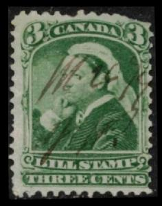CANADA 1868 QUEEN VICTORIA 3c GREEN #FB40 THIRD BILL STAMP ISSUE, FINE USED