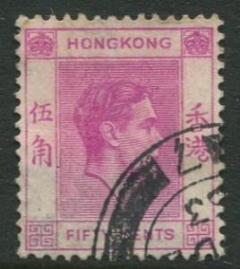 Hong Kong -Scott 162 - KGVI Definitive -1938 - FU - Single 50c Stamp