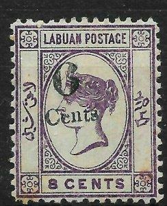 LABUAN SG34 1891 6c ON 8c DEEP VIOLET MINT SPACEFILLER