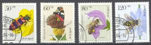Germany Sc# B616-B619 Used (a) 1984 50+20pf-120+60pf Insects