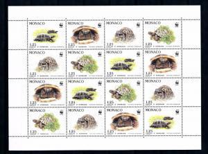 [54233] Monaco 1991 Reptiles WWF Turtles MNH Full sheet