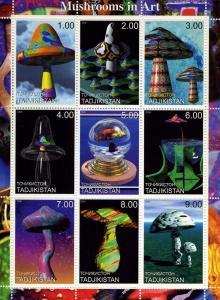 Tadjikistan 2000 MUSHROOMS IN ART Sheet (9) Perforated Mint (NH)