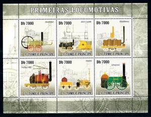[63482] Sao Tome & Principe 2007 Railway Train Eisenbahn Sheet MNH