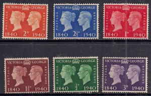GB 1940 KGV1 Centenary set x 6 MM stamps SG 479 - 484 ( F130 )