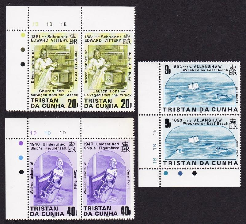 Tristan da Cunha Shipwrecks 2nd series 3v in pairs SG#411/13 SC#393-95