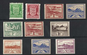 Jersey 1941 Arms & Views sets g-f unmounted mint + 1d, 2½d on newsprint cat ...