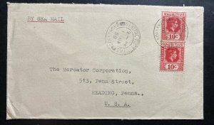 1950 Mauritius Sea Mail Cover To Reading PA USA