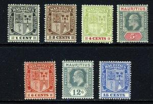 MAURITIUS 1910 New Design Wmk Multiple Crown CA Part Set SG 181 to SG 189 MINT