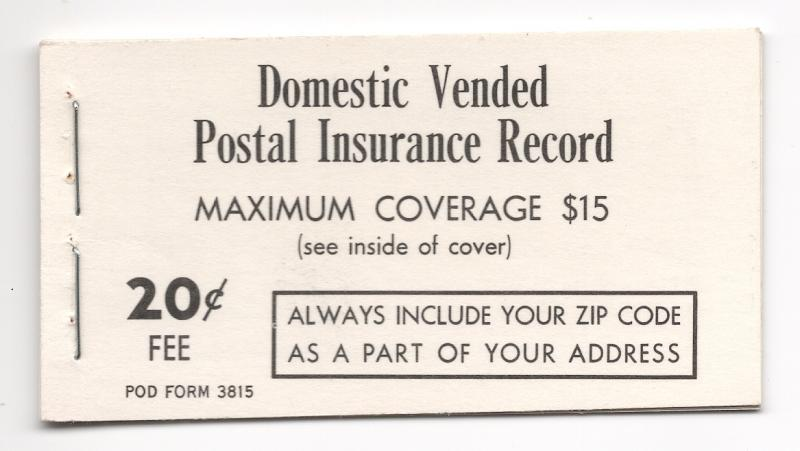 US#Q12 - Insurance Booklet - Complete - Unused - O.G. - N.H.