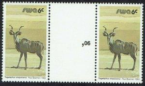 SOUTH WEST AFRICA 1980 BUCK 6C GUTTER PAIR MNH **