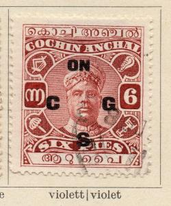 Cochin 1913 Early Issue Fine Used 6p. Optd 322436