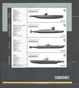 MICRONESIA - SUBMARINES 2015 SHEETLET MNH