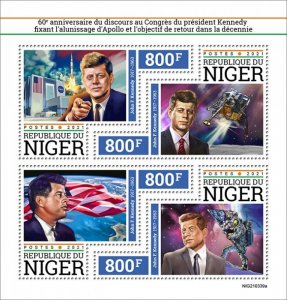 NIGER - 2021 - Kennedy and Apollo - Perf 4v Sheet - Mint Never Hinged
