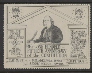 USA - 150th Anniversary of Constitution, Philadelphia 1937 MNH