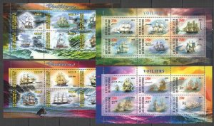 F1468 2013 DJIBOUTI IVORY COAST TRANSPORT GREATEST SAILING SHIPS !!! 4KB MNH