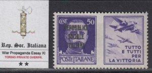 ITALY RSI (Social Rep) - War Propaganda -Essay XI MNH** Torino 1944