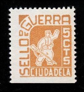 SPAIN SPANISH CIVIL WAR STAMP CIUDADELA SELLO DE GUERRA 5 CTS MH-OG