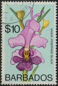 Barbados 1975 $10 Vanda Josephine Black (Orchid) used