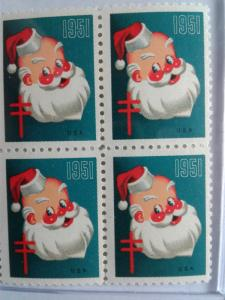 1951 CHRISTMAS SEALS BLOCK OF 4 NEVER HINGED GEMS !! GREAT FIND !!