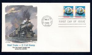 UNITED STATES FDC (25¢) 'E' Rate Earth Coils 1988 Fleetwood