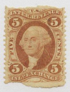 B24 U.S. Revenue Scott R27b 5-cent Inland Exchange part perf barely cancelled