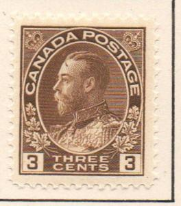 Canada Sc 108 1918 3 c brown GV Admiral issue stamp mint
