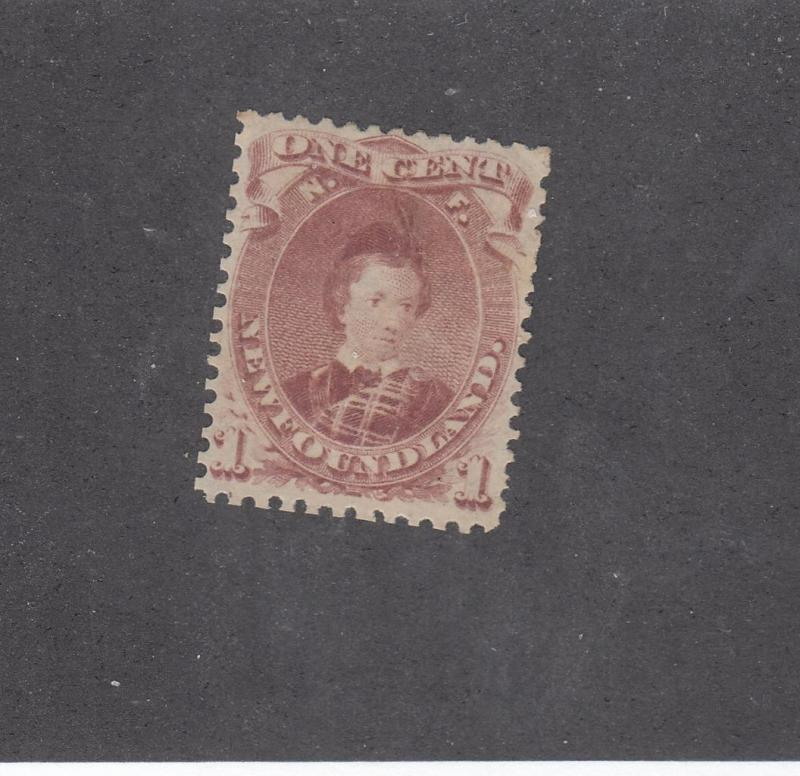 NEWFOUNDLAND # 32a VF-MNG 1ct PRINCE OF WALES BROWN LILAC CAT VALUE $100