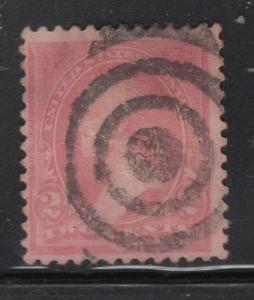 US 1884 Washington 2c Stamp 4 Margins & Bullseye Scott 248 Cancel VF