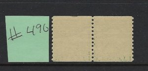 US #490 1916-22 LINE COIL PAIR- PERF 10 VERTICAL- 1 CENT  MINT NEVER HINGED