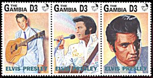 Gambia 1347, MNH, 15th Anniversary Death of Elvis Presley strip of 3