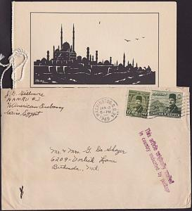 EGYPT 1949 Diplomatic mail cover cancelled on arrival in Washington.........6936