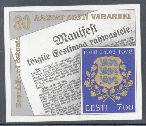 Estonia Sc 336 1998 80th Anniviversary stamp sheet mint NH