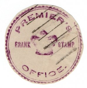 (I.B) New Zealand Postal : Government Frank (Premier's Office)