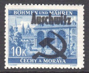 BOHEMIA & MORAVIA KZ CAMP AUSCHWITZ FELDPOST OVERPRINT #4 OG NH BEAUTIFUL GUM