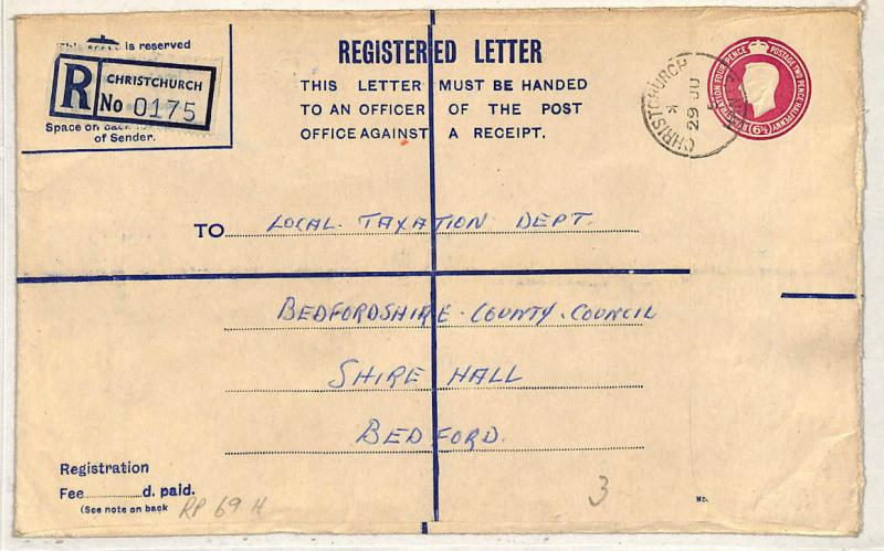 W125 1951 GB Hants *Christchurch* Registered Stationery RP69H {samwells-covers}