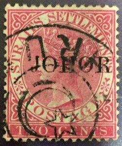 Malaya Johor 1888 opt Straits Settlements QV 2c Narrow J Used SG#14a CV£450