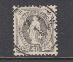 Switzerland Sc 108a used. 1905 40c gray Standing Helvetia, small thin, VF appear