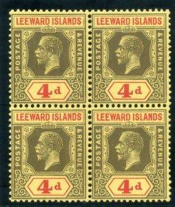 Leeward Islands 1924 KGV 4d black & red/pale yellow block MNH. SG 70. Sc 73.