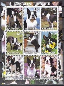 Kalmykia, 2000. Russian Local. Boston Terriers, Dogs sheet of 9. ^