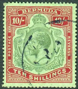 BERMUDA-1924 10/- Green & Red/Pale Emerald.  A good used example Sg 92