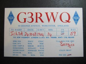 10407 Amateur Radio QSL Card WORCESTER ENGLAND
