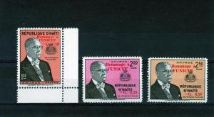 HAITI 1960 Unicef ovpt.red Set (3) MNH Sc#CB22/3 B13
