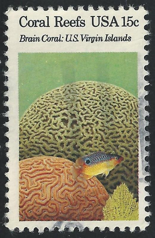 US #1827 15c Brain Coral Beaugregory Fish