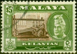 Kelantan 1957 $5 Brown & Bronze-Green SG94 Superb Used
