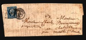 France 1859 Letter Cover / Tesangon CDS w/ Insert - Z15711